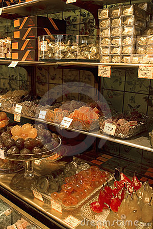 Shop selling candied chestnuts and fruit Editorial Stock Photo