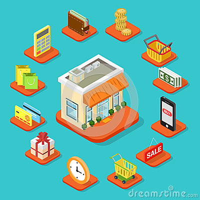 Free Shop Store Building Shopping Infographic Icon Flat 3d Isometric Royalty Free Stock Photos - 66180768