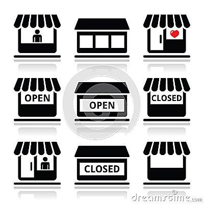 shop or store supermarket icons set stock illustration image 43069857. Black Bedroom Furniture Sets. Home Design Ideas
