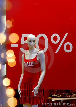 Free Shop Window 50 Percent Off Royalty Free Stock Images - 4044789