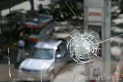 Shop Window Damaged by Gunfire in Bangkok Riots Editorial Photo