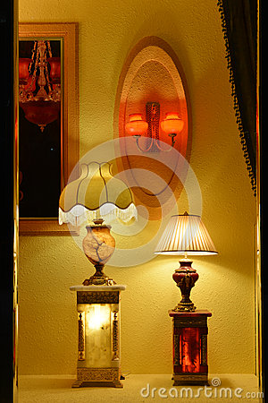 In shop window Luxury marble table lamp,Wall Sconce,Warm light,The light of hope,Light up your dream,Romantic time