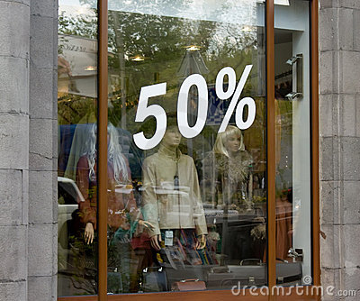 Shop window with percent numbers
