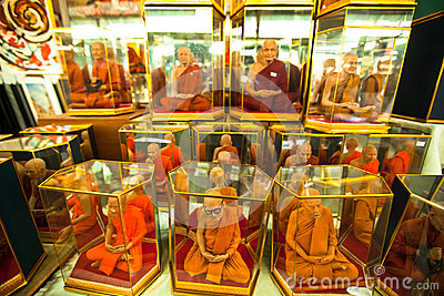Shop windows with mannequins monks at Chatuchak Weekend Market Editorial Stock Image