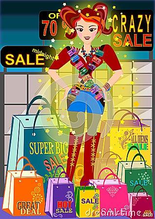 Free Shopaholic Girl Royalty Free Stock Image - 47743606