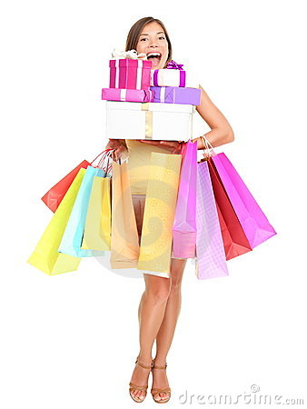 Free Shopaholic Shopping Woman Royalty Free Stock Photos - 19598088