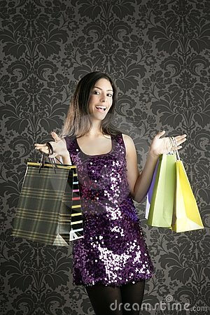 Shopaholic woman colorful bags retro