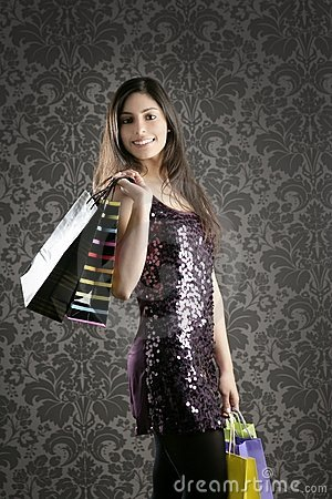 Shopaholic woman colorful bags retro wallpaper