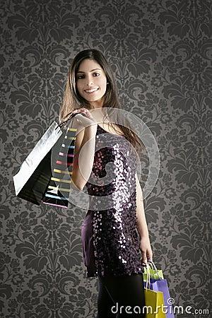Shopaholic woman colorful bags retro wallpaper