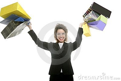 Shopaholic woman with colorful shopping bags hands