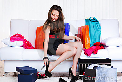 Shopaholic young woman