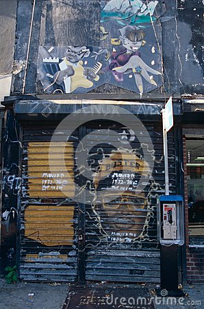 Shopfront covered in Graffiti, New York City, USA Editorial Photography