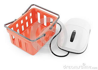 Shoping basket and computer mouse