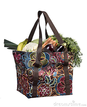 Shopper bag with fruits and vegetables