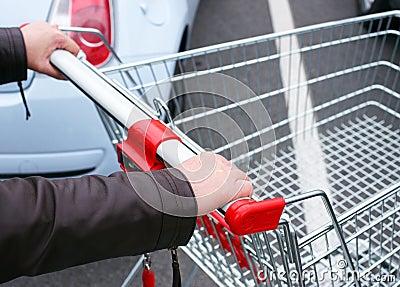 Shopper pushing empty cart