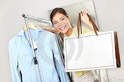 Shopper Woman Showing Shopping Bag Sign Stock Image - Image: 21941641