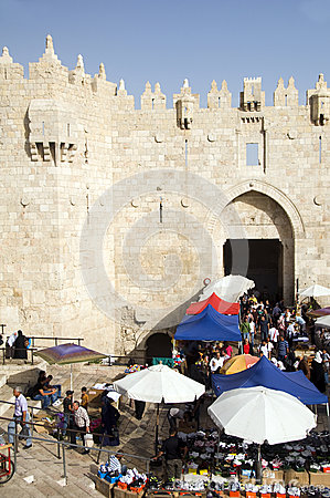 shoppers at Damascus Gate Palestine Editorial Stock Photo