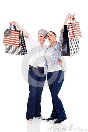 Shoppers holding purchases