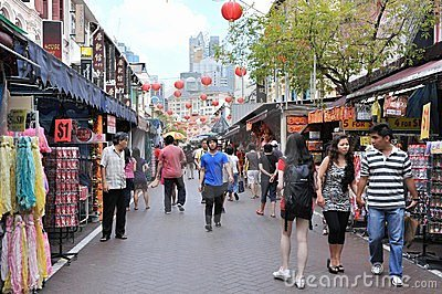 Shoppers Walk through Singapore s Chinatown Editorial Stock Photo
