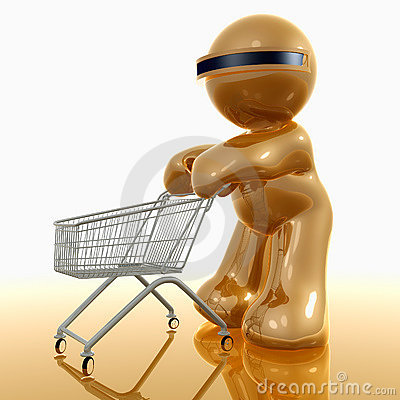 Shopping 3d humanoid icon