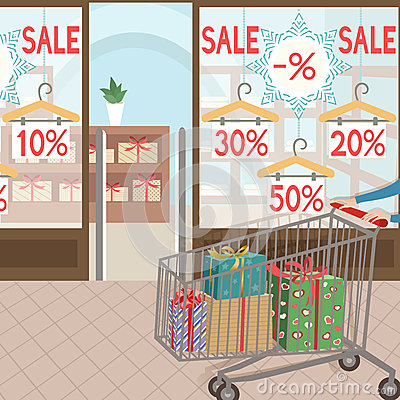 Free Shopping And Presents. Seasonal Sale. Royalty Free Stock Images - 48518859