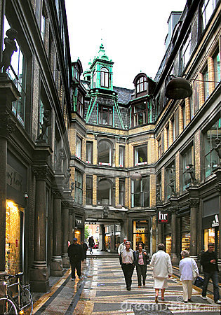 Shopping arcade in Copenhagen Editorial Photography