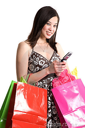 Shopping asian woman