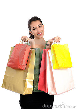 Shopping attractive young woman