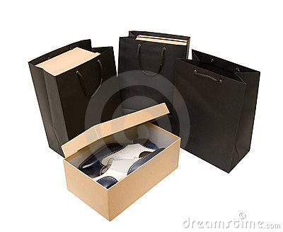 Shopping bag and box with shoes