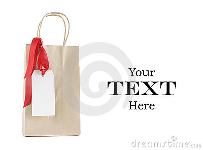 Shopping bag with christmas tag
