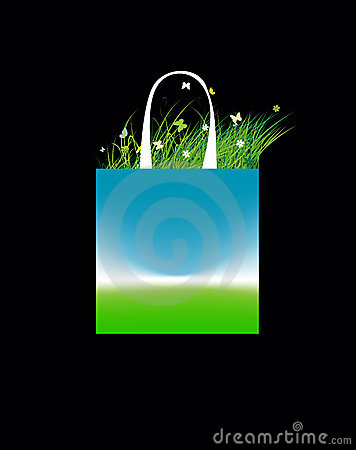 Free Shopping Bag Design, Green Field And Sky Stock Image - 15259661