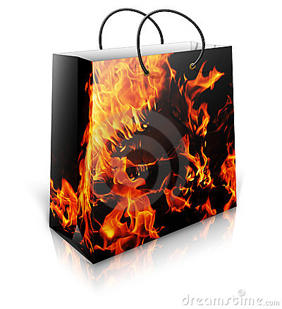 Shopping bag with firey background