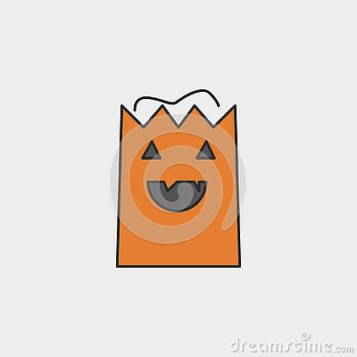 Shopping Bag for halloween day outline colored icon Stock Photo