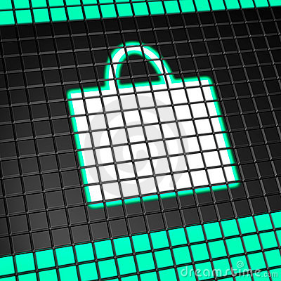 Shopping bag icon on pixel screen