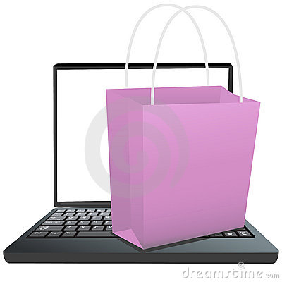 Shopping Bag on Keyboard of Laptop to Shop Online