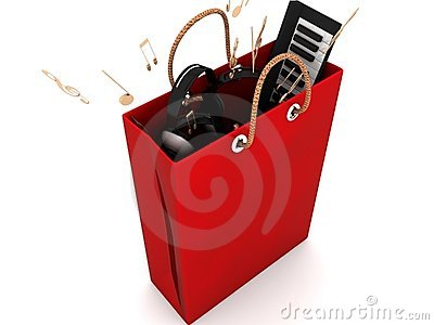 Shopping bag with musical equipments