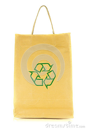 Shopping bag with recycle symbol isolated on white background