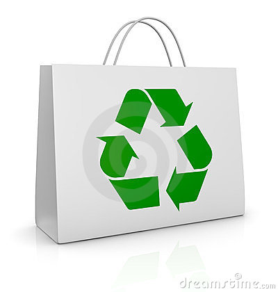 Shopping bag and recycling symbol