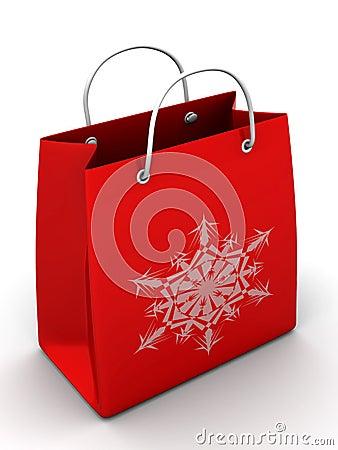 Shopping bag with snowflake