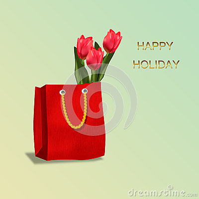 Shopping bag with tulips gift.