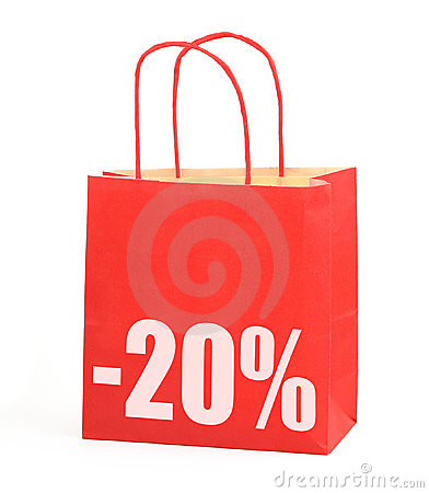 Free Shopping Bag With -20 Sign Royalty Free Stock Image - 5346306