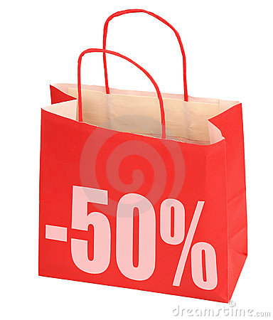 Free Shopping Bag With -50 Sign Royalty Free Stock Photo - 5144985