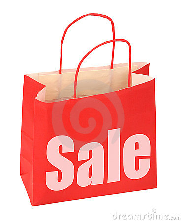 Free Shopping Bag With Red Sale Sign Royalty Free Stock Photo - 5062045
