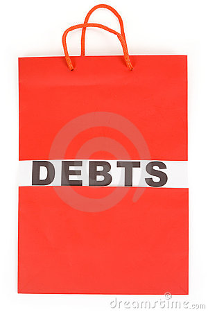 Shopping Bag and word debts