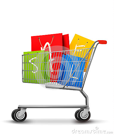 Shopping bags with sale in shopping cart. Concept