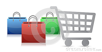 Shopping bags and a shopping cart