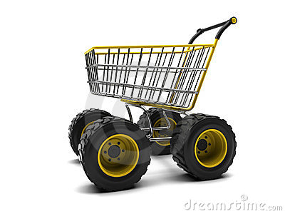 Shopping basket with big wheels