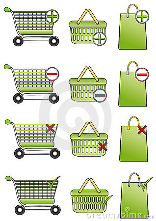 Shopping basket, cart and bag icons