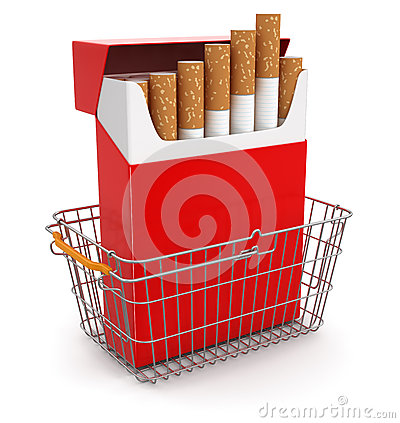 Shopping Basket and Cigarette Pack (clipping path included)