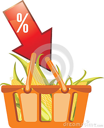 Shopping Basket With Corncobs Royalty Free Stock Photo - Image: 26328815